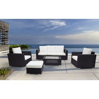 5 Piece Wicker Conversation Set with Cushions - CARONA