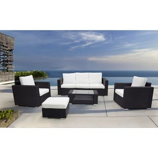 5 Piece Wicker Conversation Set With Cushions Carona