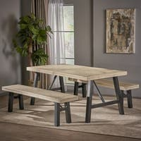 Cottage 3-piece Acacia Wood Picnic Dining Set by Christopher Knight Home