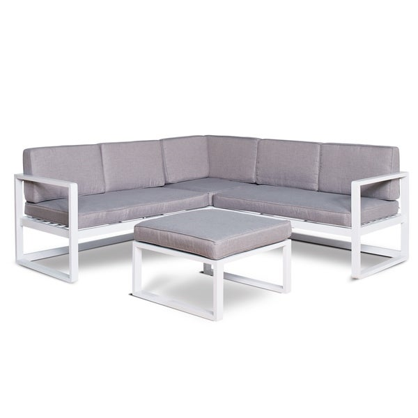 Mykonos 3 Piece Patio Sectional Set With Grey Cushions