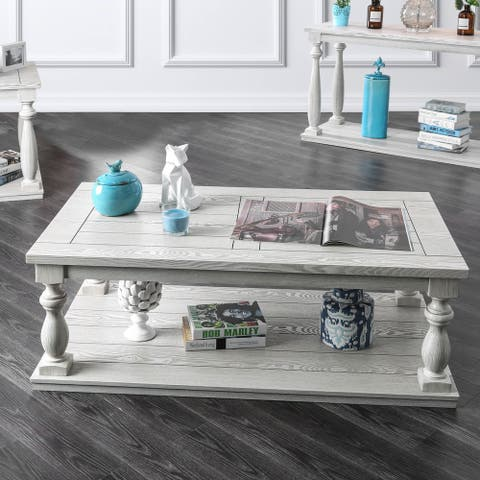 Furniture of America Tost Rustic White Solid Wood 1-shelf Coffee Table