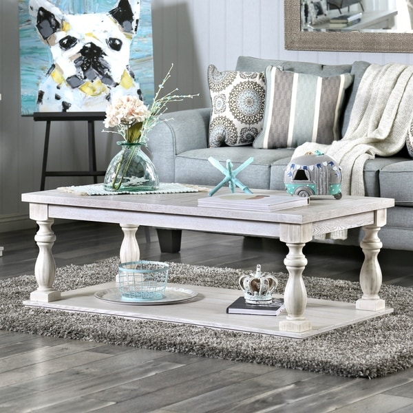shop furniture of america franklin rustic antique white coffee table free shipping today. Black Bedroom Furniture Sets. Home Design Ideas