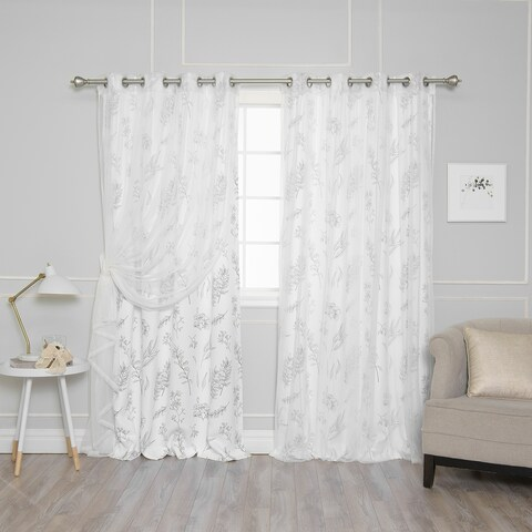 Aurora Home Mix & Match Botanical Privacy and Tulle Sheer 4 Piece Curtain Panel Set