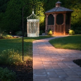 """17.5""""H Solar Outdoor Hanging Lantern with Faceted Acrylic Jewels and Metal Shepard's Hook"""