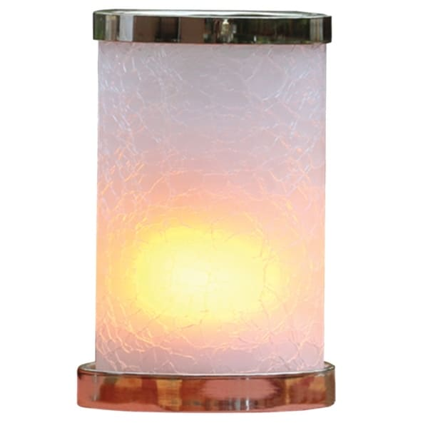 """7.5""""H Ambiente Flame™ White Crackle Glass Flameless Candle With Rechargeable LED Module and USB Adapter"""