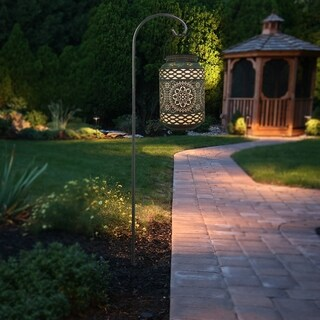 """13.25"""" Solar Outdoor Punched Metal Hanging Lantern and Metal Shepard's Hook (2 options available)"""
