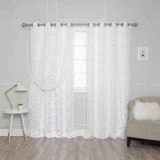 Aurora Home Mix & Match Flamingo Privacy and Tulle Sheer 4 Piece Curtain Panel Set