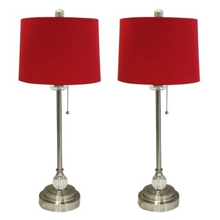 """Royal Designs 28"""" Crystal and Brushed Nickel Buffet Lamp with Red Shallow Drum Hardback Lamp Shade, Set of 2"""