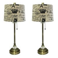 """Royal Designs 28"""" Crystal and Antique Brass Lamp with Eggshell and Black Vintage French Print Drum Hardback Lamp Shade, Set of 2"""