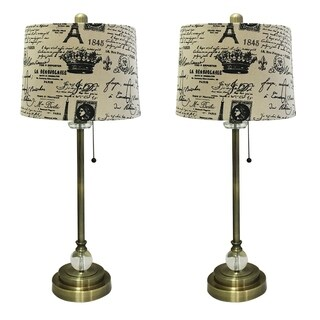 """Royal Designs 28"""" Crystal and Antique Brass Lamp with Eggshell and Black Vintage French Print Drum H"""