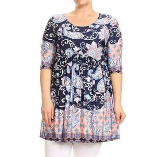 Women's Plus Size Multicolor Pattern Print Tunic Top