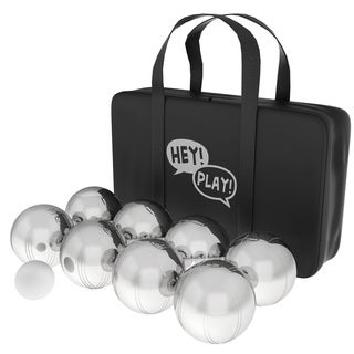 Link to Petanque / Boules Set For Bocce and More with 8 Steel Tossing Balls, Cochonnet, and Carrying Case by Hey! Play! Similar Items in Outdoor Play