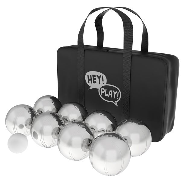 Petanque / Boules Set For Bocce and More with 8 Steel Tossing Balls, Cochonnet, and Carrying Case by Hey! Play!. Opens flyout.