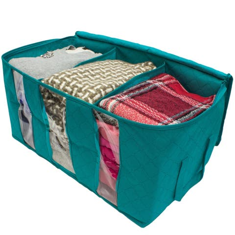 Foldable Fabric Storage Organizer Bag 3 Sectional 24x14x11in (Pack of 2)