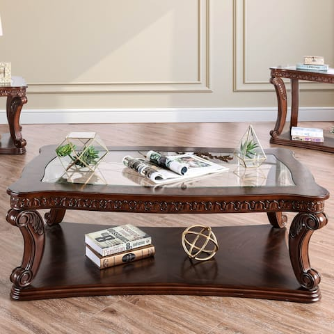 Furniture of America Rend Traditional Espresso Solid Wood Coffee Table