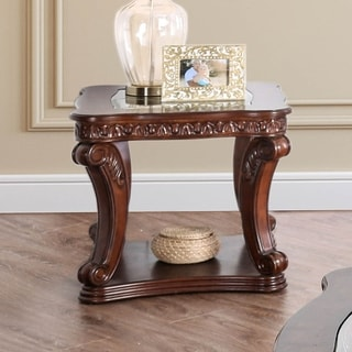 Townsend Traditional Drak Oak Glass Top End Table by FOA