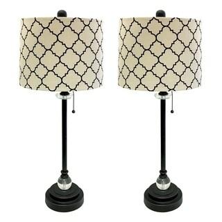 "Royal Designs 28"" Oil Rub Bronze Lamp with Eggshell and Black Moroccan Print Shallow Drum Hardback Lamp Shade, Set of 2"