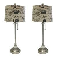 "Royal Designs 28"" Brushed Nickel Lamp with Eggshell and Black Vintage French Print Drum Hardback Lamp Shade, Set of 2"