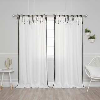 Aurora Home Tie Top Bordered Oxford Curtain Panel Pair