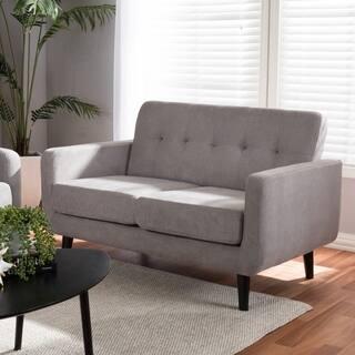 Mid-Century Fabric Upholstered Loveseat by Baxton Studio