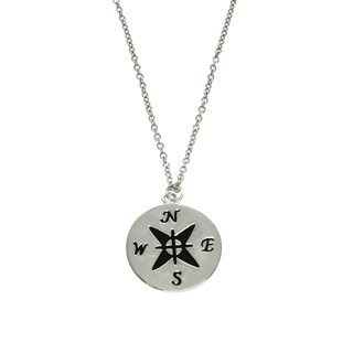 Eternally Haute Engraved Compass Necklace