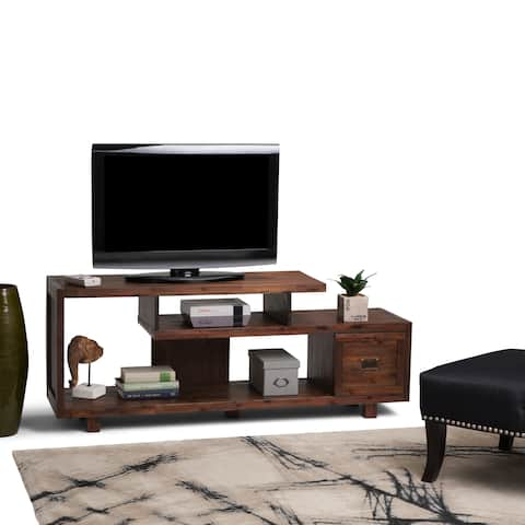 WYNDENHALL Garret Solid Acacia Wood 60 inch Wide Rustic TV Media Stand in Distressed Charcoal Brown For TVs up to 65 inches