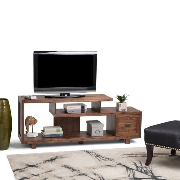WYNDENHALL Garret Contemporary Rustic Solid Acacia Wood TV Media Stand