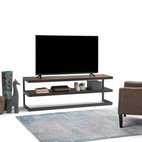 WYNDENHALL Cecilia SOLID ACACIA WOOD 66 inch Wide Industrial TV Media Stand in Rustic Natural Aged Brown For TVs up to 70 inches