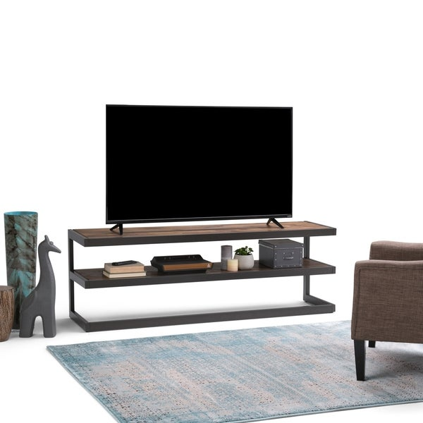 WYNDENHALL Cecilia SOLID ACACIA WOOD 66 inch Wide Industrial TV Media Stand in Rustic Natural Aged Brown For TVs up to 70 inches. Opens flyout.