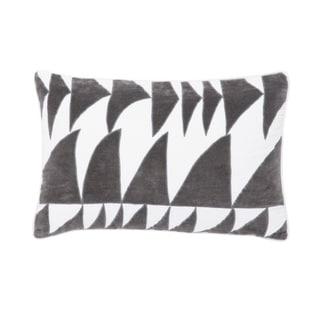 Nikki Chu Priscilla White/Gray Geometric Down Throw Pillow 16X24 inch