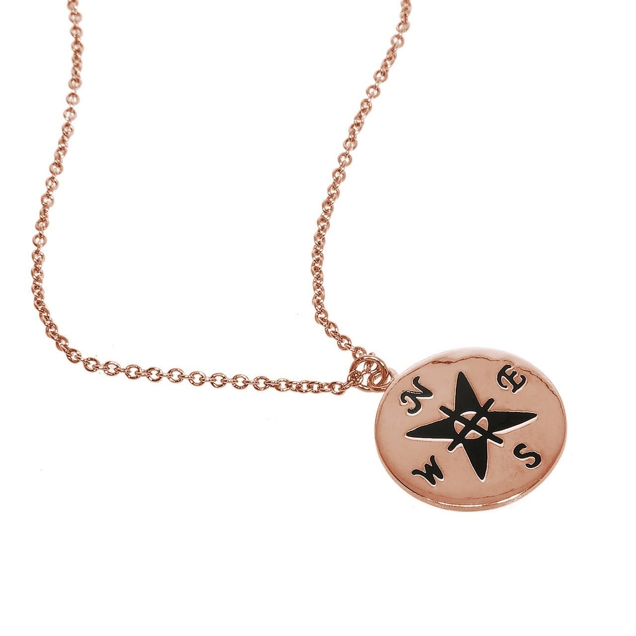 75dd2a496 Shop Eternally Haute 14k Rose Gold Plated Engraved Compass Necklace - Free  Shipping On Orders Over $45 - Overstock - 20612078