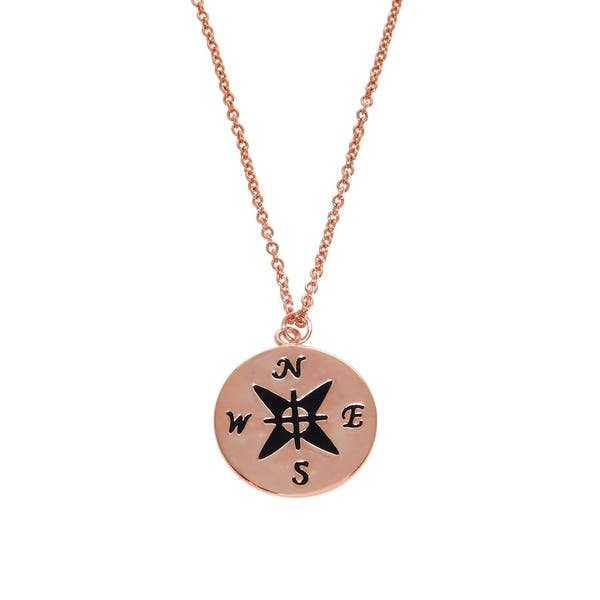 db4b3c3a9 Shop Eternally Haute 14k Rose Gold Plated Engraved Compass Necklace ...