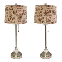 """Royal Designs 28"""" Brushed Nickel Lamp with Cream and Red Relaxing Phrase Print Drum Hardback Lamp Shade, Set of 2"""