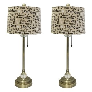 "Royal Designs 28"" Antique Brass Lamp with Cream and Brown Dog Lover Print Drum Hardback Lamp Shade, Set of 2"