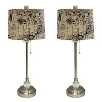 "Royal Designs 28"" Brushed Nickel Lamp with Vintage Map Postcard Design Drum Hardback Lamp Shade, Set of 2"