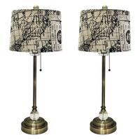"Royal Designs 28"" Antique Brass Lamp with Vintage Map Postcard Design Drum Hardback Lamp Shade, Set"
