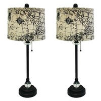 "Royal Designs 28"" Oil Rub Bronze Lamp with Vintage Map Postcard Design Drum Hardback Lamp Shade, Set of 6"