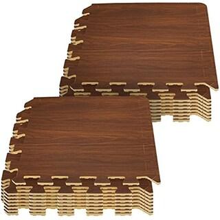 Interlocking Floor Mat - Wood Print, 16 Pieces
