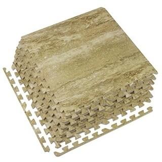 Interlocking Floor Tile Mats, Wood Marbleized Print, 60x60x1.2, 6 Tiles
