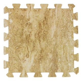 Sorbus Interlocking Floor Tile Mats, Wood Marbleized Print, 9 Tiles