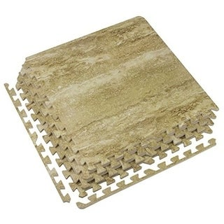 Interlocking Floor Tile Mats, Wood Marbleized Print, 60x60x1.2, 4 Tiles