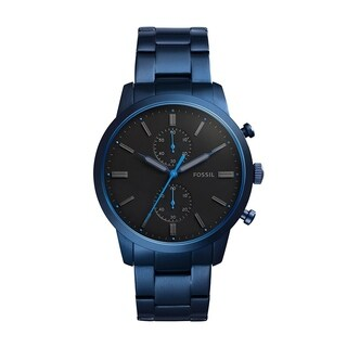 Fossil Men's FS5345 Townsman Chronograph Black Dial Blue Stainless Steel Watch