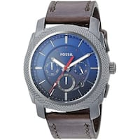 Fossil Men's  Machine Chronograph Blue Dial Grey/Brown Leather Watch