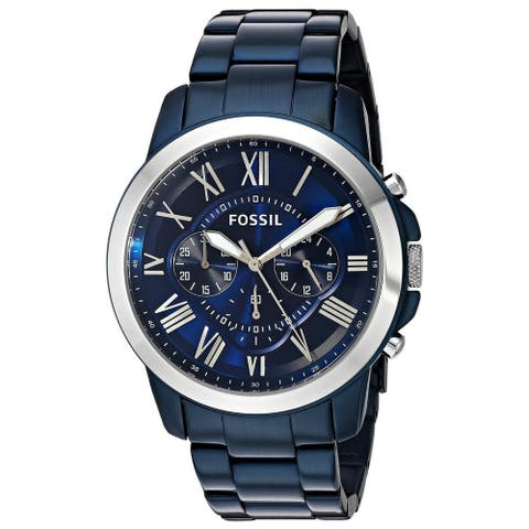Fossil Men's Grant Chronograph Blue Dial Blue Stainless Steel Bracelet Watch