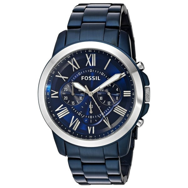 0aaf394a1199 Fossil Men  x27 s Grant Chronograph Blue Dial Blue Stainless Steel Bracelet  Watch