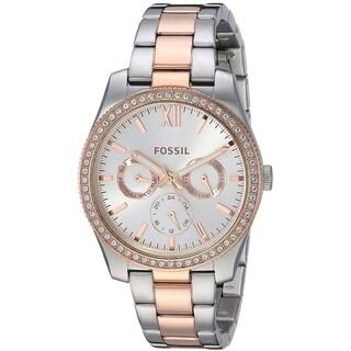 Fossil Women's ES4373 Scarlette Multi-Function Silver Dial Two-Tone Stainless Steel Bracelet Watch