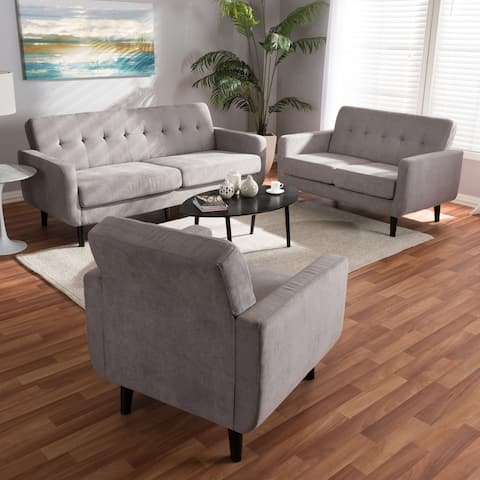 Mid-Century Fabric 3-Piece Living Room Set by Baxton Studio