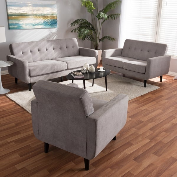Shop Mid Century Fabric 3 Piece Living Room Set By Baxton
