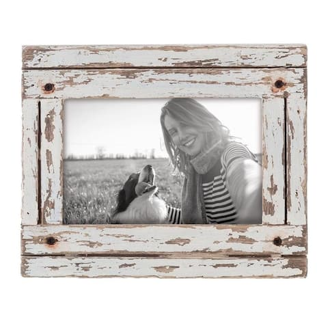 Foreside Home & Garden White 4 x 6 inch Decorative Distressed Wood Picture Frame