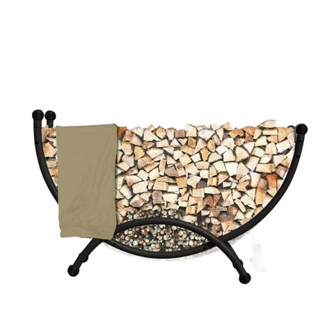 Deluxe Steel Firewood Storage - Half Circle Steel 5-ft Firewood Rack with Polyester Cover